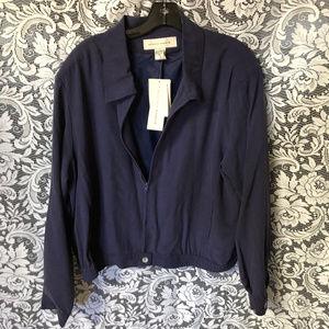 Melrose Studio Navy 100% Silk Bomber Jacket L NEW